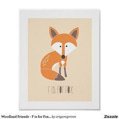 Waldfreunde - F ist- für Fox-Kunst-Druck Poster