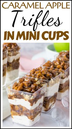 Caramel Apple Trifles in Mini Cups - Easy Thanksgiving Party Dessert You can find Trifles and more on our website.Caramel Apple Trifles in Mini Cups - Easy . Mini Desserts, Mini Dessert Cups, Trifle Desserts, Party Desserts, Just Desserts, Delicious Desserts, Mini Dessert Shooters, Dessert Ideas For Party, Mini Trifle