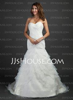 Mermaid Sweetheart Court Train Organza Satin Wedding Dress With Ruffle (002000619)