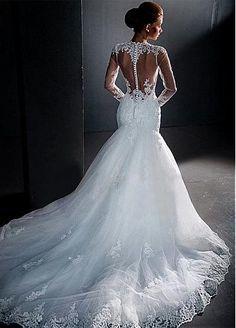 Elegant Tulle Jewel Neckline Mermaid Wedding Dresses With Lace Appliques