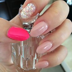 Cute! Nude, hot pink & glitter or rhinestones. Love the placement.