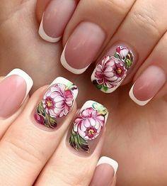 Stunning Flower Nail Art Designs -Relaxwoman nail ideas with flowers - Nail Ideas Flower Nail Designs, Pretty Nail Designs, Flower Nail Art, Acrylic Nail Designs, Acrylic Nails, Nail Art Designs, Nail Flowers, Nails Design, Garra