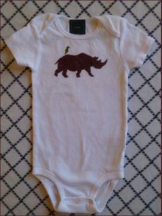 Rhino and Friend Baby Bodysuit. $18.00, via Etsy.