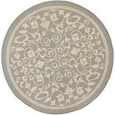 Safavieh Courtyard Gray/Natural Round Indoor/Outdoor Machine-Made Coastal Area Rug (Common: 7 X 7; Actual: 7.83-Ft W X 7