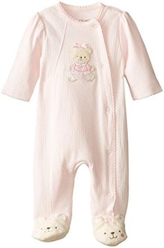 Little Me Baby-Girls Newborn Sweet Bear Footie, Light Pink, 6 Months. A wrapped, snap front provides comfort and security on a baby girls' kimono-style footie crafted in pure cotton. My Baby Girl, Baby Girl Newborn, Baby Girls, Kids Girls, Preemie Clothes, Going Home Outfit, Girls Dress Up, Baby Dress, Trendy Baby Clothes