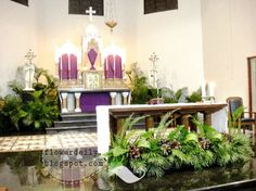 The lenten season had been away and now we're entering the Holy week and the Palm Sunday is the first day of the Holy week. The Palm Sun. Altar Flowers, Church Flowers, Wedding Flowers, Church Altar Decorations, Flower Decorations, Christmas Decorations, Catholic Altar, Altar Design, Palm Sunday