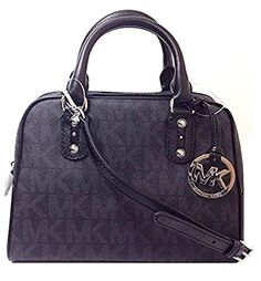 Michael Kors Signature MK Logo Small PVC Satchel  Black * See this great product. (This is an Amazon affiliate link)