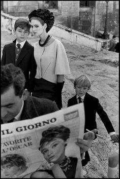 Deborah Dixon wearing Italian haute couture forHarper's Bazaar, Rome, 1962. Photo by Frank Horvat.
