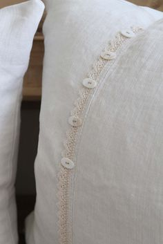 Linen and Lace pillows with button closure.  made from vintage materials