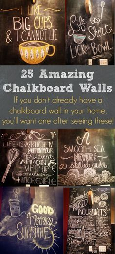 I am in LOVE with these chalkboard wall photos! SO many great ideas! I have to get my husband to make me a wall in our kitchen!