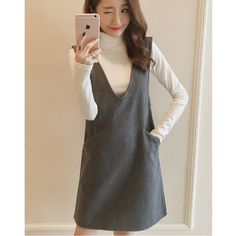 Buy Dowisi Set: Turtleneck Long-Sleeve Knit Top + V-Neck Pinafore Dress at YesStyle.com! Quality products at remarkable prices. FREE WORLDWIDE SHIPPING on orders over US$35.