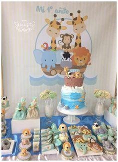 baby boy birthday party Arca de No Birthday Party Ideas Noahs Ark Party, Noahs Ark Theme, Baby Girl Shower Themes, Baby Boy Shower, Baby Boy 1st Birthday Party, Party Ideas, Baby Party, Safari Birthday Party, Baby Birthday Decorations