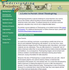 ARTICLE: A letter to parents about Thanksgiving.From the Teacher's Corner on the Understanding Prejudice website. Reading At Home, Reading Room, Teachers Corner, Letter To Parents, My Teacher, American History, Homeschooling, Thanksgiving, Lettering