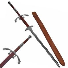 """Landesknechte Flamberge 52"""" Two-Hand Medieval Sword with Scabbard #Flamberge"""