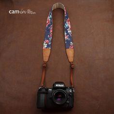 Universal Denim Flower Pattern Genuine Leather Camera Strap / Carrying Strap / Shoulder Strap / Neck Strap / DSLR Strap Last One CAM022. $24.99, via Etsy.