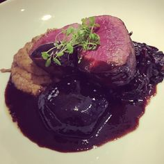 Rare pan roasted venison w/ balsamic beetroot, smoked aubergine purée & red chard . on our specials menu this weekend Bar Grill, Roasting Pan, Venison, Beetroot, Real Food Recipes, Grilling, Menu, Cooking