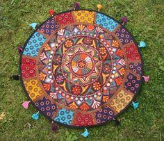 Tischdecke Patchwork Wandbehang Indien bestickt rund ethno orient bunt in Möbel & Wohnen, Dekoration, Wandbehänge   eBay