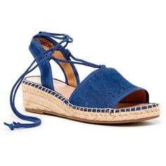 Franco Sarto Liona Ankle Lace Wedge Espadrille ($50) ❤ liked on Polyvore featuring shoes, sandals, blue, wedge heel sandals, platform sandals, blue wedge shoes, blue sandals and open toe wedge sandals
