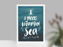 Kunstdruck VITAMIN SEA Meer #quotes #sayings #poems #quotation #cites #fun #funny #inspiration #inspirational #lovequotes #inspirationalquotes #funquotes