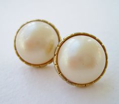 Vintage 80s Traditional Preppy Chanel Style Goldtone Faux Pearl Cabochon Domed Earrings by ThePaisleyUnicorn, $3.00