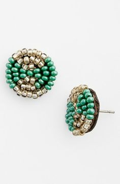 Me to We Artisans Beaded Leather Stud Earrings (Juniors) (Online Only) | Nordstrom