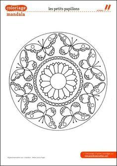 iColor Butterflies Butterfly Mandala links to site Coloring Butterfly Coloring Page, Mandala Coloring Pages, Coloring Book Pages, Butterfly Mandala, Mandala Art, Embroidery Patterns, Hand Embroidery, Dot Painting, Mandala Design