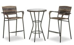 This collection is great for indoor and outdoor use. Chairs and stools frames are constructed of aluminum, with resin wicker seats, backs and arms. Glass table top also has an aluminum base. All pieces have a durable baked on powder bronze brown finish.