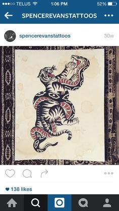 Traditional style drawing of a tiger fighting a snake. Available to tattoo.