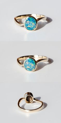 Rainbow Color Australian Doublet Black Opal Engagement Ring 14k Yellow Gold Beautiful Play-of-Color. Size 6.5. Free Gift Box with Every Opal Order! Natural Australian Doublet Opal, 0.81 ct. Every Opal piece is Unique. | eBay!