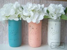painted mason jars- rustic wedding- shabby chic- Coral and Teal Wedding Mason Jars Painted by themasonjarcompany, $21.00