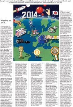 Mapping out 2014. Illustrated New Year predictions for the Financial Times.