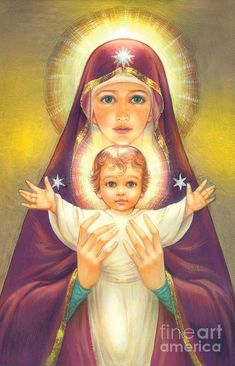 Behold thy Mother and Holy Queen! Madonna and Baby Jesus Digital Art by Zorina Baldescu via beholdthymother Blessed Mother Mary, Divine Mother, Blessed Virgin Mary, Religious Pictures, Religious Icons, Religious Art, Immaculée Conception, Religion Catolica, Queen Of Heaven