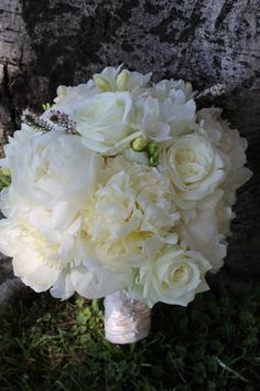 Ivory Bridal Bouquet Peonies, Garden Roses, Freesia