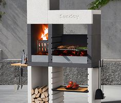 Sunday One grill by Emo Design. Sunday grill from Emo Design introduces a revolution for the barbecue market. One, the new range of fixed barbecues, thanks to the patented system Duo, permits to choose from 3 different ways of cooking - the traditional Barbecue Grill, Design Barbecue, Grill Design, Parrilla Exterior, Char Broil Grill, Terrasse Design, Built In Grill, Outdoor Kitchen Design, Design Moderne