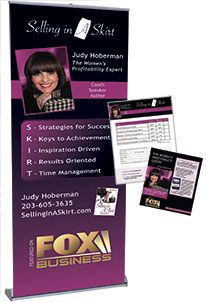 Judy Hoberman knows that consistent branding is key when relating to her audience. That's why her retractable banner and flyer and order form all have the same visual branding. Learn more at www.backoftheroomproductions.com