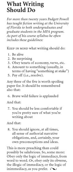 What Writing Should Do