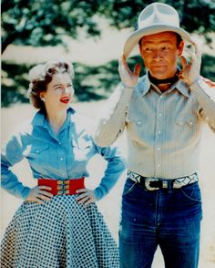 Rare Still Color Roy Rogers & Dale Off Camera #2 <<< I fully believe this was their relationship - Roy doing rather silly stuff and Dale reprimanding him for it. Come to think of it, this is pretty much their relationship in the movies too! :-D