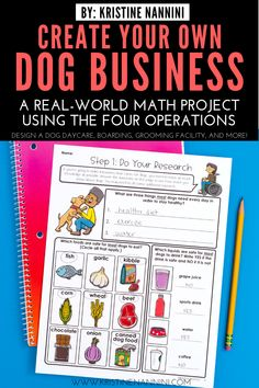 Create Your Own Dog Business Math Project - Young Teacher Love Math Help, Fun Math, Math Activities, 5th Grade Classroom, Middle School Classroom, Elementary Math, Upper Elementary, Project Based Learning, Fun Learning