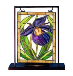 "Meyda 9.5""W X 10.5""H Lady Slippers Lighted Mini Tabletop Window"