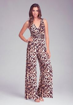 Printed Wide Leg Jumpsuit from bebe on shop.CatalogSpree.com, your personal digital mall.