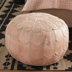 Artfully handmade from leather, this distinctive pouf's scalloped stitching and medallion pattern give it a hint of this flair. Add it to the den as an extra seat for impromptu entertaining, or pull it up to the sofa to kick your feet up after work. Leather Pouf Ottoman, Tufted Ottoman, Swing Arm Floor Lamp, Desk And Chair Set, Decoration, All Modern, Upholstery, Throw Pillows, Beautiful