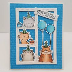 card critters cat cats balloon birthday MFT Blueprints 27 Die-namics #mftstamps