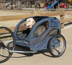 Houndabout Dog Cat Pet Bicycle Bike Trailer -- needs bigger windows for Bitsy to see out of but I like that it hooks up to a bike :)