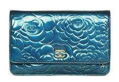 b11c390815a5 CHANEL Blue Patent Leather Camelia Wallet On A Chain With Silvertone  Hardware $1,499 Big Bags,
