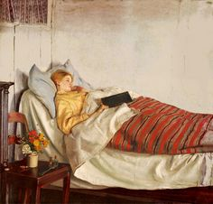 Michael Ancher 'Den Syge Pige' 1892 by Plum leaves (in)