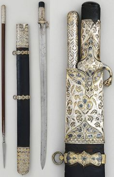 Ottoman saber and jarid (javelin) with scabbard, 17th century, steel, silver, niello, wood, leather, length of blade, 23 in. (58.42 cm), Met Museum.