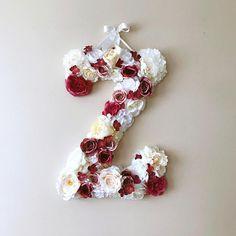 Bespoke Flower Walls, Flower Letters, Mobiles & Prints by PaulettaStore Floral Wedding, Wedding Flowers, Flower Mobile, Wedding Letters, Flower Letters, Floral Wall, Marsala, Autumn Wedding, Fabric Decor