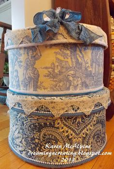 Hat Boxes covered with fabric--made by Karen McAlpine