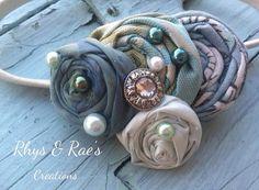 Mint, Light Blue, Teal, Sage Green, Rosette Fabric Flower Headband, Rolled Fabric Flower, Women's Headband, Sage Headband, Silver Headband on Etsy, $18.00