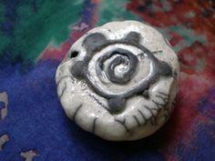 Raku Bead, Turtle Bead, OOAK, Handmade, Clay Bead Supply, Ceramic Bead